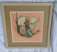 P Buckley Moss Mother Earth Framed Lithograph Owl Raven Egret 198 of 1000 Signed