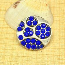 NEW Jewelry Blue Rhinestone Charm Chunk Snap Button fit for Noosa Bracelet BUB93