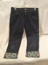 EUC 7 For All Mankind Jean Cropped/ Capri W/ Skulls On Inside And Cuff Size 27