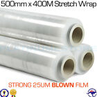 Heavy Duty BLOWN Pallet Wrap 500mm x 400m 25UM Hand Stretch Wrapping Cling Film