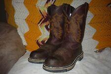 Womens 7.5 M Rocky Ride Dark Brown Western Safety Toe Work Boots 6222