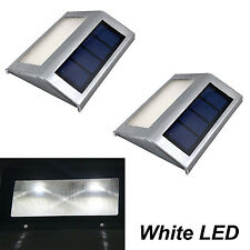2pcs Solar Power Steel White LED Light Pathway Step Stair Wall Garden Yard Lamp