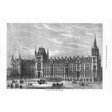 LONDON St Pancras - Midland Railway Hotel Euston Road - Antique print 1871