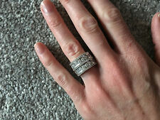 Sterling Silver 925 Wide Band Cubic Zirconia Eternity Ring - Kit Heath(?) Size K