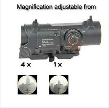 Hunting Tactical Rifle Scope Quick Detachable 1X-4X Adjustable Dual Role Sight