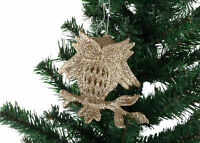 3 x Sparkle GOLD OWL Christmas XMAS Tree Hanging Decoration Baubles Glitter