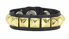 Single Gold Pyramid Stud Leather Snap Bracelet Punk Gothic Glam Rockabilly 70's