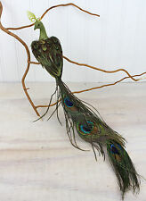 Vintage Peacock Bird with Feathers Clip On Christmas Ornament