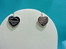 Return to Tiffany & Co. Sterling Silver Mini Small Heart Tag Earrings w/ Pouch