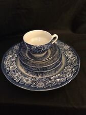 STAFFORDSHIRE LIBERTY BLUE China 5 Pc Place Setting Made in ENGLAND