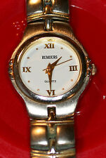 RUMOURS METAL WATCH GOLD/SILVER BAND WHITE FACE W/BATTERY