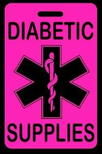 Hi-Viz Pink DIABETIC SUPPLIES Luggage/Gear Bag Tag - FREE Personalization - New