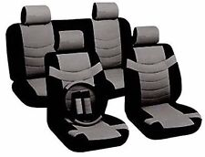Car Seat Covers Sporty Accent Black Gray PU Leather Steering Wheel Set CS5