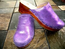 "UGG SZ 5 Purple Sparkling Leather Upper Sheepskin Lined Clogs Mules 1"" Heel"