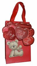 Valentines Luxury SMALL Gift Bag - Red Hearts Bear Lots of Love Paper Party Bags