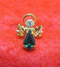 14 KT GOLD EP BIRTHSTONE MAY EMERALD ANGEL LAPEL PIN