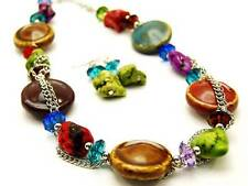 Multi Color Ceramic Bead Stone And Lucite Bead Silver Tone Link Necklace Earring