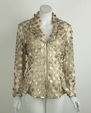 New Joseph Ribkoff Jacket Blazer Gold Sheer Zip Front Long Sleeves Size 8 NWT