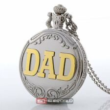 Antique DAD Silver Pattern Quartz Pocket Watch Necklace Chain Pendant Gift Retro