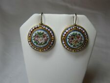 Micromosaic Earrings Victorian Museum Quality 14K Gold Etruscan c1880 Flower