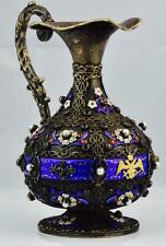 ONE OF A KIND Imperial Russian M.Ovchinnikov silver,enamel&pearls wine/ewer Jug
