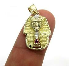 2.10 Gr Small Mens Ladies 10k Yellow Real Gold king Tut Egypt Charm Pendant
