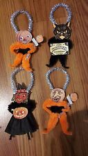 4 Vintage Style Halloween  Chenille Ornaments Favors Gift Tags Cat Moon Witch +
