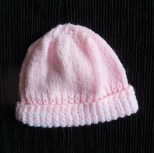 Baby clothes GIRL premature/tiny 5lbs/2.3kg mid-pink warm soft hand-knitted hat