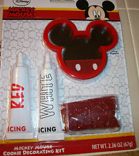 New   Disney Mickey Mouse Pink Cookie Cutter Decorating Kit w/ 2 icing