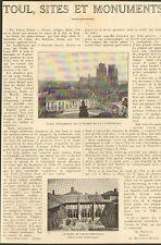 54 TOUL SITES & MONUMENTS ARTICLE DE PRESSE PAR FRINGANT DEPUTE 1923