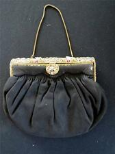 """RARE  VINTAGE FRENCH 1950'S BLACK BEADED AND CLOISONNE EVENING BAG 9""""X7""""X1 1/2"""""""