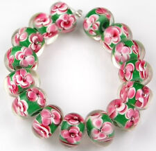 15 Lampwork Glass Beads Handmade Green Pink Pansy Flower Loose Rondelle Spacer