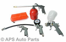 Air 5Pc Compressor Tool Kit Gravity Spray Gun Tyre Inflator Duster Degreasing