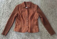 Womens Live A Little Leather Snap Up Jacket W/ Acrylic Sleeves, Size PM