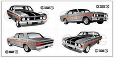 New! Collectable FORD FALCON XY GT HO 351 -  4 MEDIUM STICKERS Quicksilver