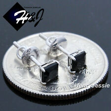 MEN WOMEN 925 STERLING SILVER 4MM SQUARE BLACK CUT CZ SCREW BACK STUD EARRING*93