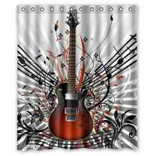 Custom Guitar Music Notes Waterproof Fabric Shower Curtain Bath Curtain 60x72
