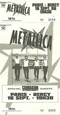 RARE / TICKET DE CONCERT - METALLICA - PARIS BERCY SEPTEMBRE 1996 / COMME NEUF