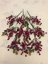 10 Berry Picks Fake Holly Red Berries Christmas Stem Joblot Craft Clearance Sale