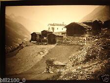 photo ancienne . Suisse . plaque de verre . positif . Zermatt . vers 1900