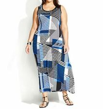 Calvin Klein Plus Size Black Cross Hatch Sleeveless Geo-Print Maxi Dress Size 1X