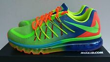 New Men's Nike iD Size 10 Air Max 2015 Multicolor Green Orange Red Rainbow