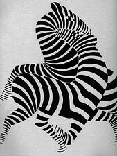 A0 SIZE zebra CANVAS vintage art print black white Victor vasarely large