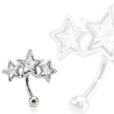 "1 Pc 16g 5/16"" Triple Star Shape C.Z. Curved Barbell Eyebrow Ring"