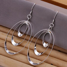 925 Sterling Silver Chandelier Circles Hoop Pierced Earrings L153