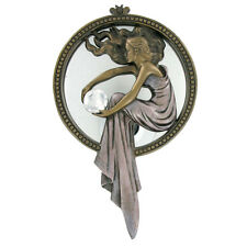 Lady holding Crystal Art Deco Cold cast bronze Mirror Ornament Wall Plaque Gift