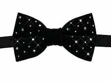 Luxury Handmade Pure Velvet Bow Tie with Swarovski Crystals | Black | Pre-tied