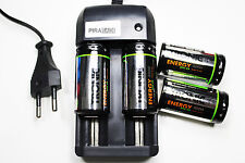 CHARGEUR RS08 + 4 BATTERIE PILE C R14 LR14 4000mAh RECHARGEABLE 1.2V Ni-MH ACCU