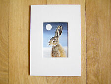 ACEO MOUNTED WATERCOLOUR PAINTING BY SARAH FEATHERSTONE,HARE UNDER THE MOONLIGHT