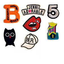 7pcs Embroidered Sew Iron on Patch Badge Bag Letter Owl Hat Fabric Applique DIY